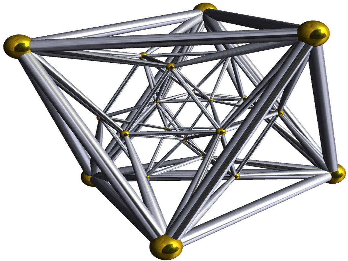 A 3-D representation of a 4-D shape called a 24-cell polychoron.