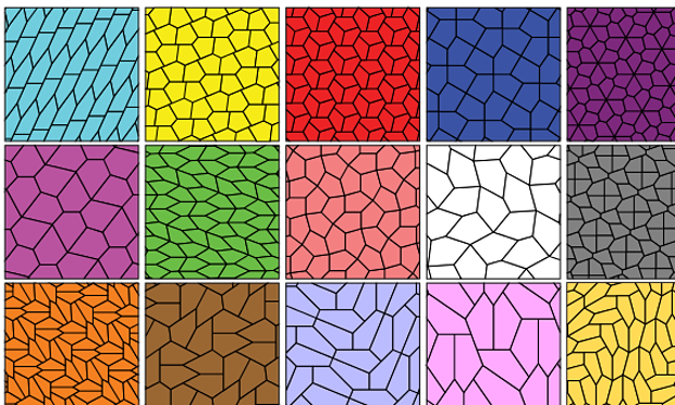 The 15 types of pentagonal tilings discovered so far. Photograph: Ed Pegg/Wikipedia