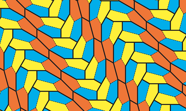 Five stars! The pentagon tiles are all identical. The colouring shows how they tile the plane when arranged in identical groups of three. Illustration: Casey Mann