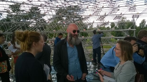 The Hive's creator, artist Wolfgang Buttress, inside his bee-inspired sculpture at Kew Gardens